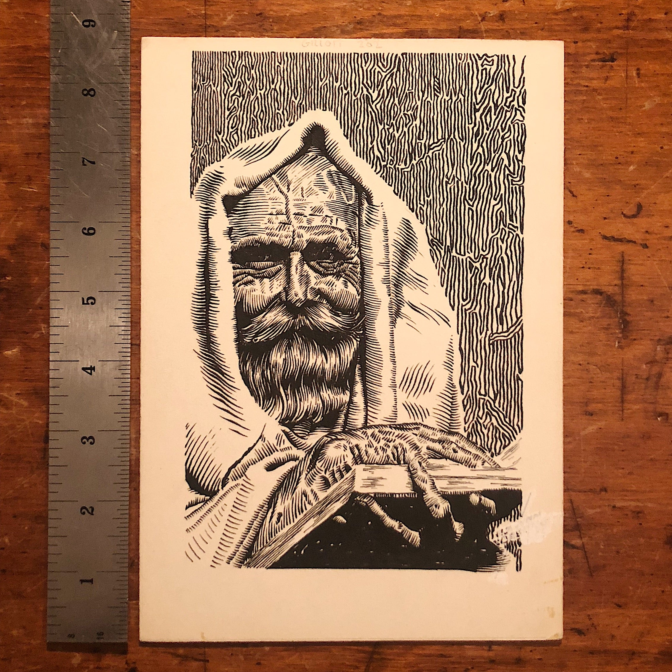 Vintage Illustration Art of Man in Cloak with Creepy Fingers - 1958 -  Illegible Signature