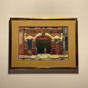 Vintage NYC Firehouse Painting by Daniel Kerlin - 1982 - Signed and Dated - Greenwich Village New York City - Architectural
