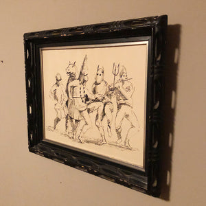 Barrington Watson Ink Drawing of John Canoe Dancers with Ebony Carved Frame