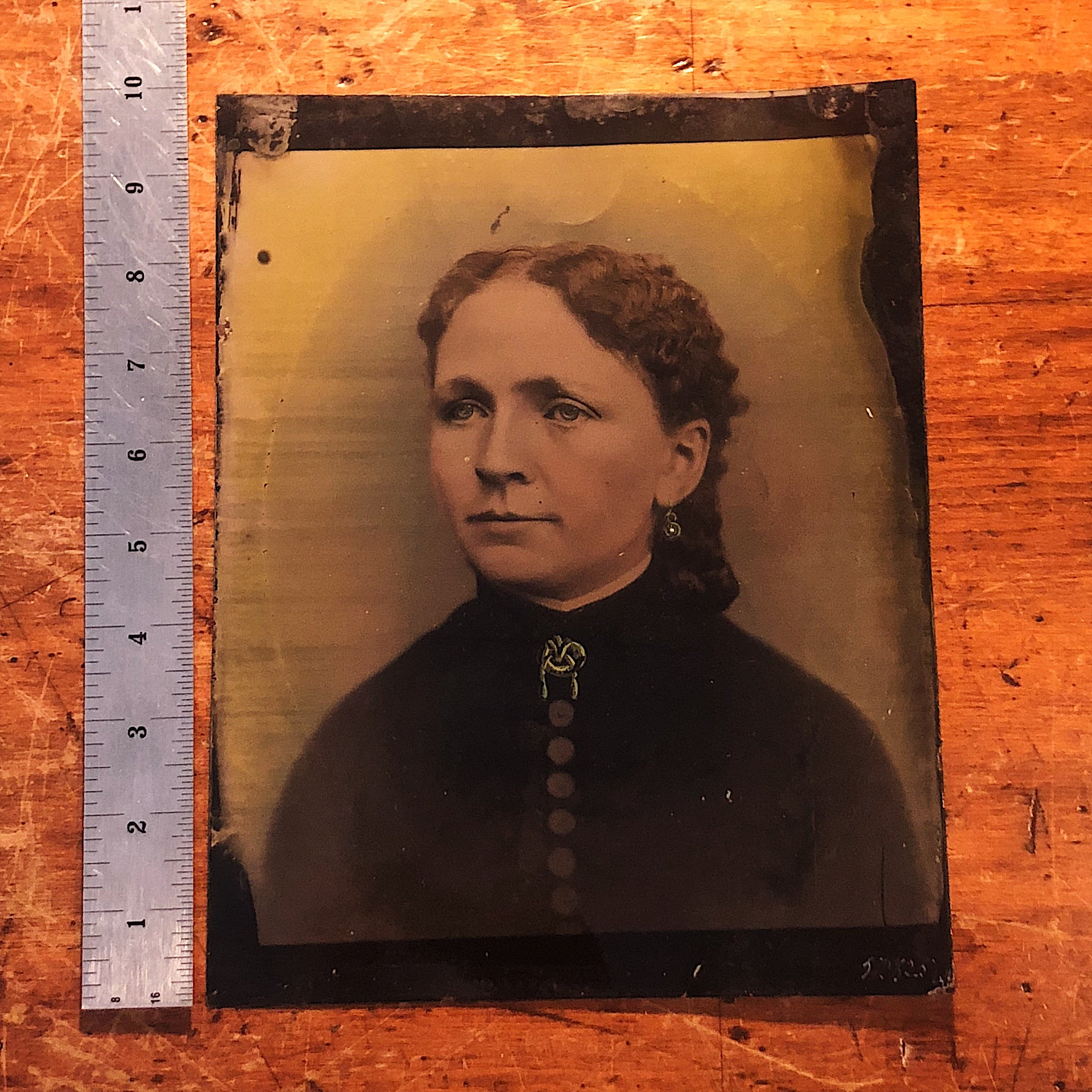 "Antique Tintype of Woman with Creepy Hand Painted Accents - 10"" x 8"""