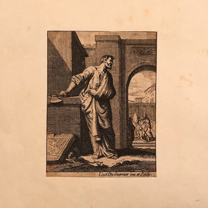 Louis Du Guernier Etching of Beheading and Man with an Axe -Early 1700s - Morbid Print - Rare European Engraving