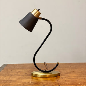 Vintage Midcentury Desk Lamp with Unusual S Shape - Mod Black Table Lamp - Atomic Age Lighting - Rare 1950s Accent Light