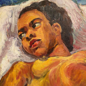 Head of WPA Era Painting of African American Nude Woman by Lillian Jean Nosko - 1940s Chicago Institute of Art - Midcentury Artwork - Listed Artist