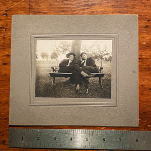 Antique Photograph of 2 Gents Lounging on a Bench | Early 1900s