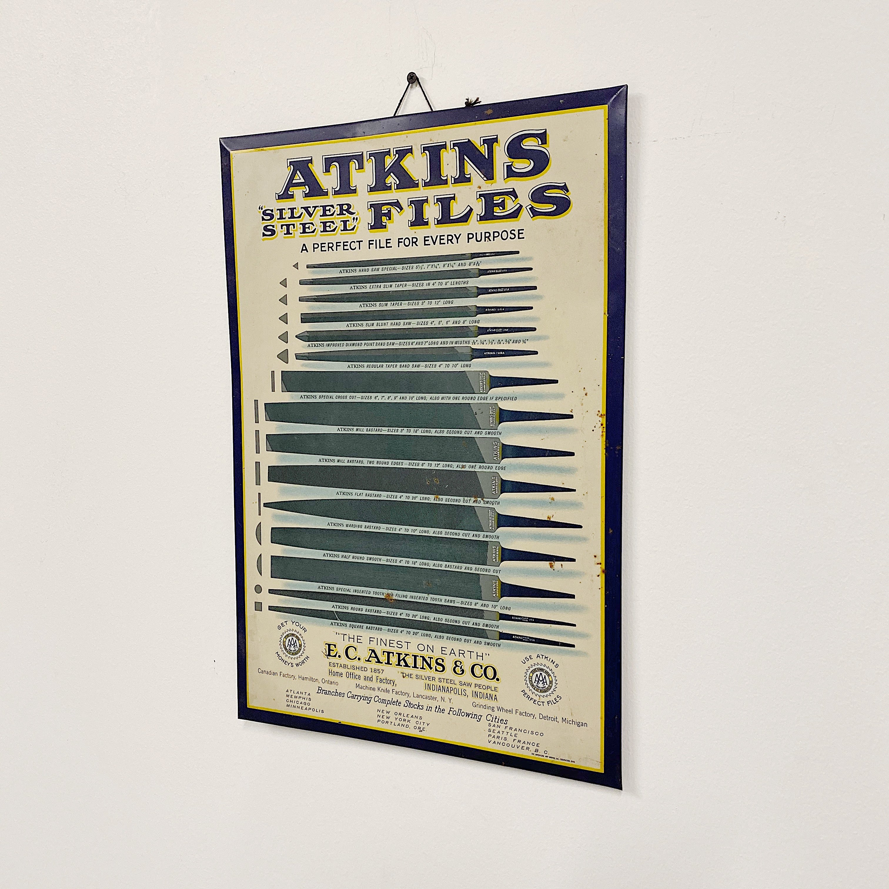 Antique Atkins Files Tin Lithograph Sign | Rare Early 1900s