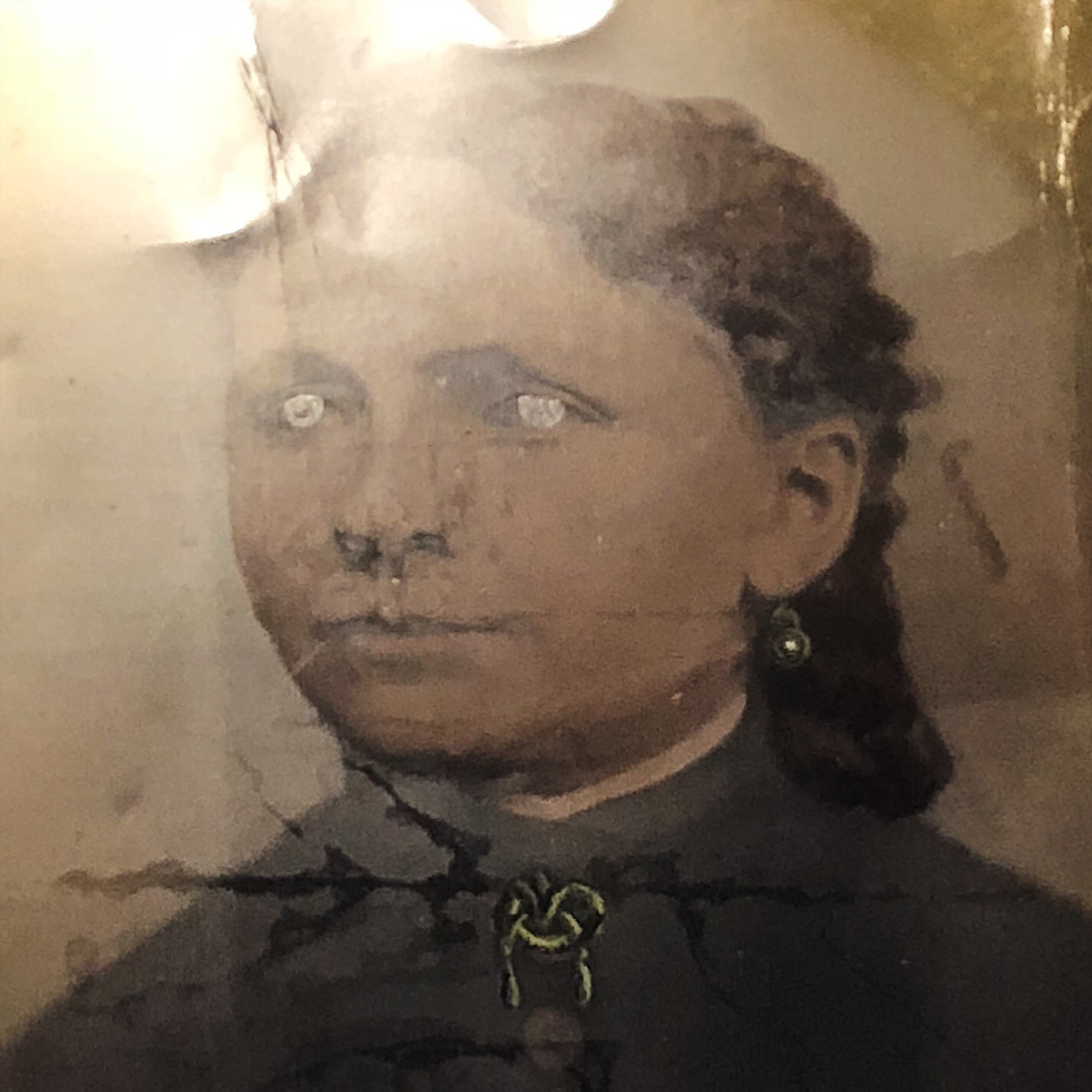 "Antique Tintype of Woman with Creepy Hand Painted Accents - Rare Large Size - 10"" x 8"" - 1800s  - 19th Century"