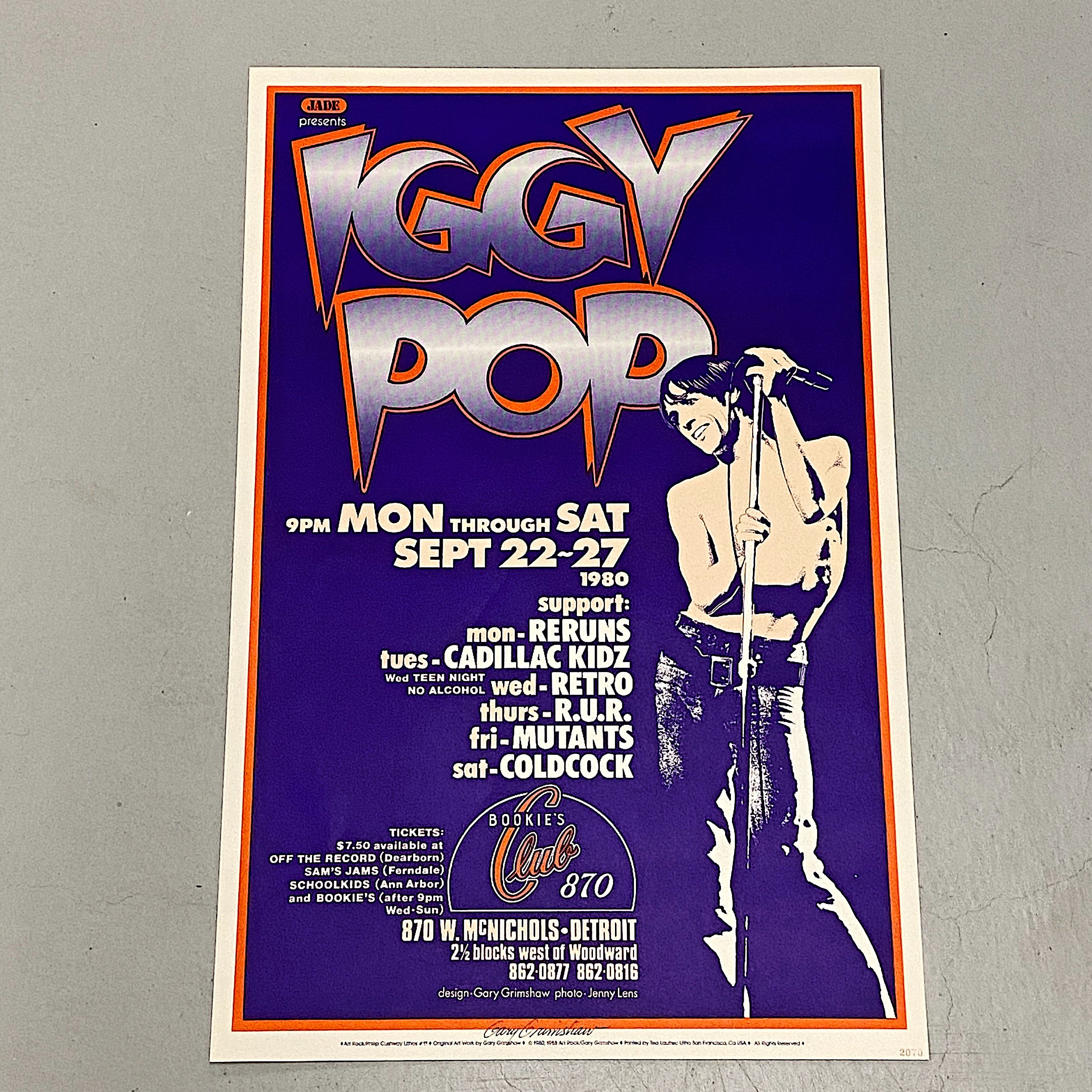 Rare Iggy Pop Concert Poster by Gary Grimshaw - Artist Signed Print 1988 - Bookie's Club Detroit - 28 x 18 - 1980s Rock Posters - Limited Edition