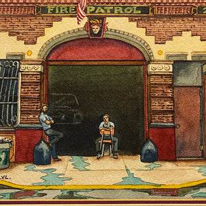 Vintage NYC Firehouse Painting by Daniel Kerlin | 1982
