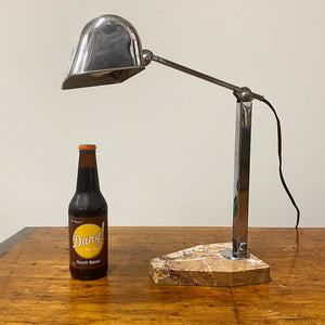 1930s French Chrome Articulating Desk Lamp with Marble Base