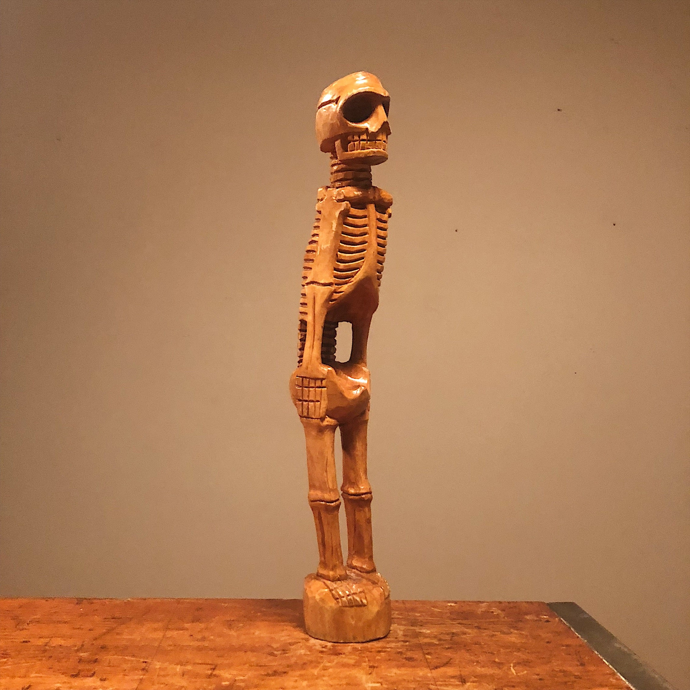 Vintage Skeleton Wood Sculpture from 1960s