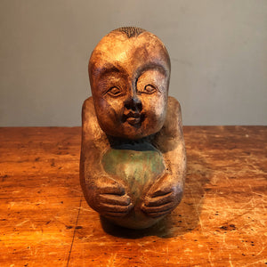Antique Opium Pillow of Baby with Ball - Chinese Wood Carving - Opium Den Relic - Rare Karako Art - Early 20th Century