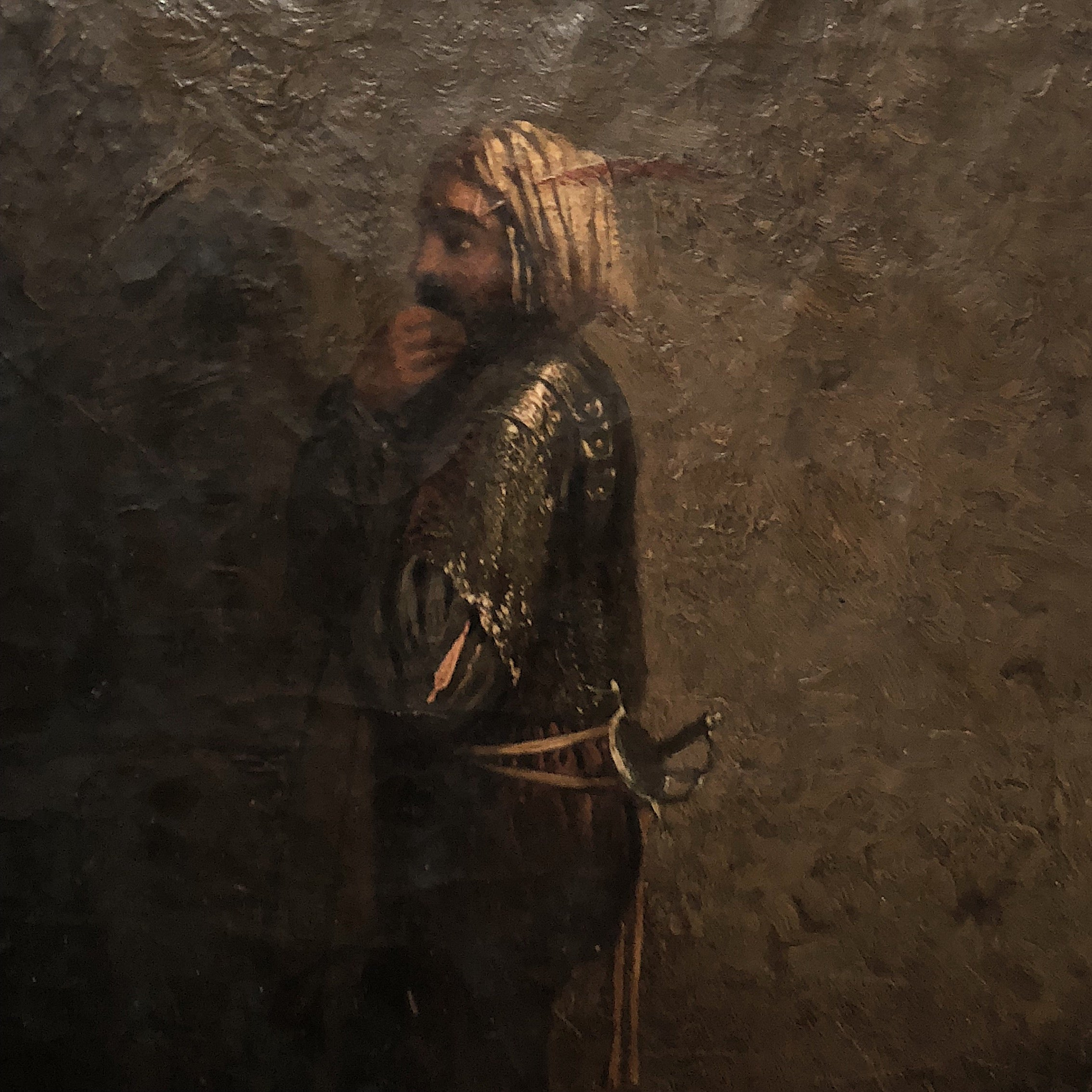 Antique Oil Painting of Arabian Warrior Peering into the Darkness - Mystery Artist - Persian Artwork