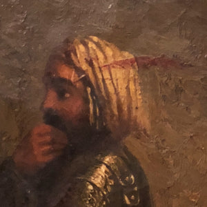 Antique Oil Painting of Arabian Warrior  - Mystery Artist - Persian Artwork