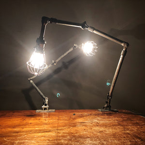 Vintage Ajusco Loc Industrial Task Lights - Set of Articulating Lamps Rare - 1950s - Industrial Decor - Machinist