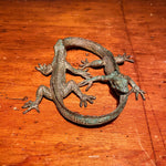Antique Bronze Sculpture of Lizards Eating Tails - Ouroboros Alchemy Symbolism - Cycle of Life - Early 1900s? - Carl Jung - Mysterious Art Funky