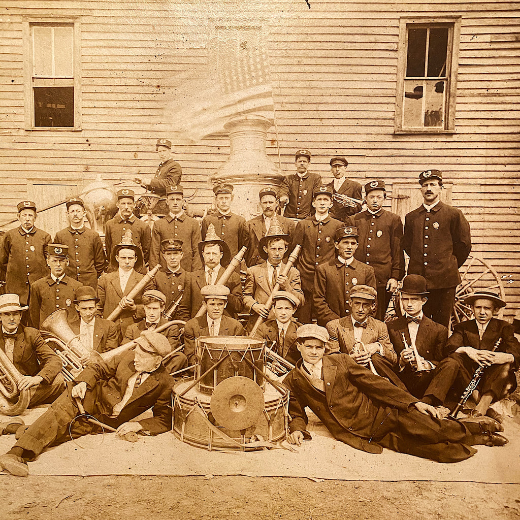 Flag in Antique Firemen Photograph - Early 1900s Firefighters Posing with Flag - Horse Drawn Fire Engine - Unusual Old Photography - Rare Image