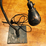 Vintage Industrial Machinist Table Lamp with Hubbell Shade Frankenstein Light - Snake Design
