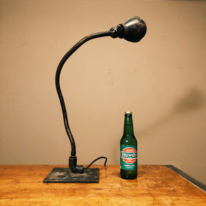 Vintage Industrial Machinist Table Lamp with Hubbell Shade Snake Design