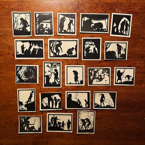 Meir Gur Arie Silhouettes Cut Print Portfolio - 1934 - Rare Judaica - Book of Genesis - 21 of 28 Silhouette Cuts - Bezalel Artist Collection
