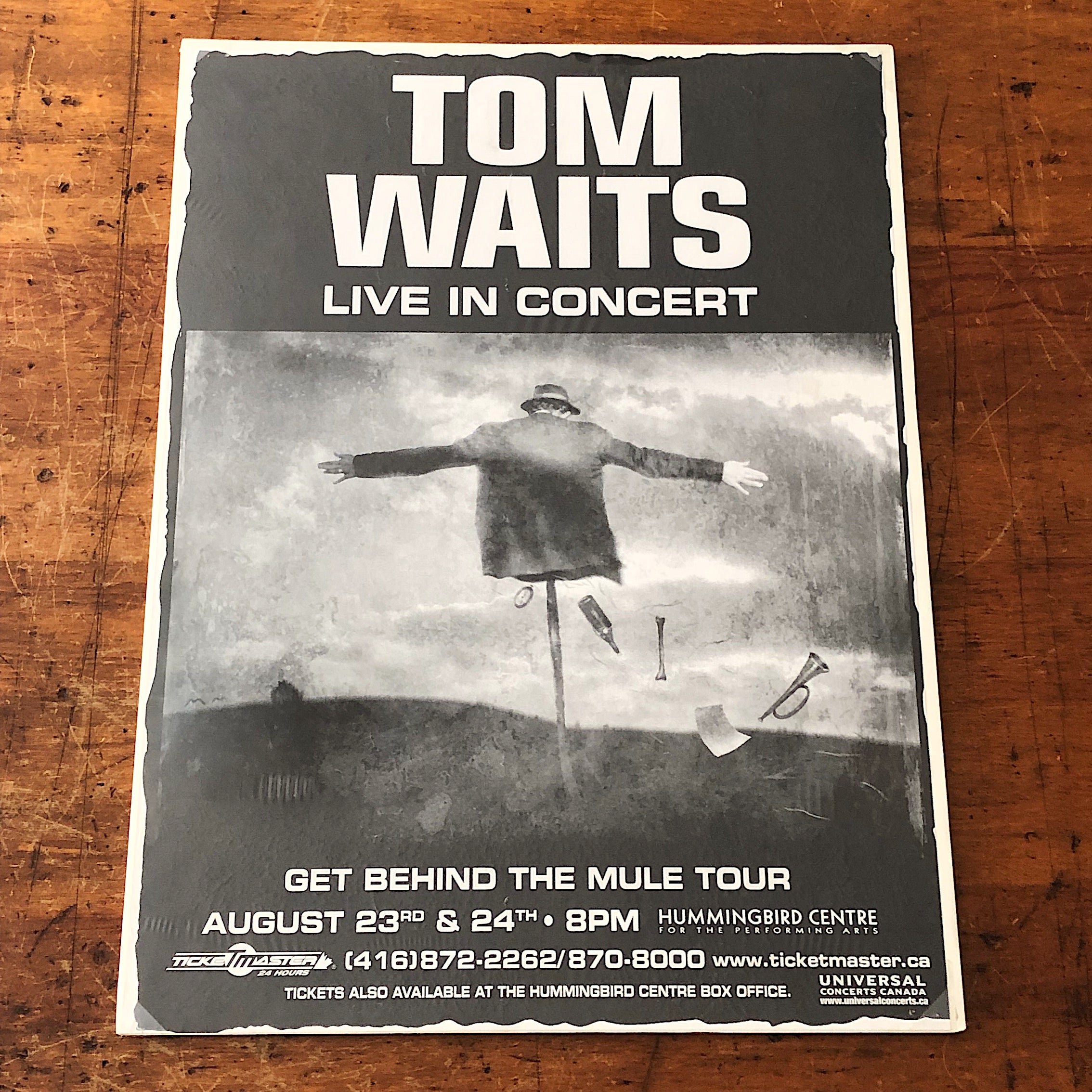 "Tom Waits Concert Poster from 1999 - Get Behind the Mule Tour - Toronto Canada Shows - Rare Rock Memorabilia - 24"" x 17"""