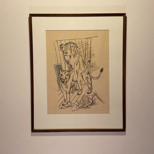 Max Beckmann Signed Lithograph | 1921  Lowenpaar Lion Couple