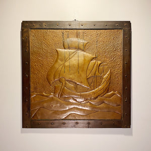 Rare Arts and Crafts Metal Relief of Ship  Industrial Decor 1920s Artwork Chic