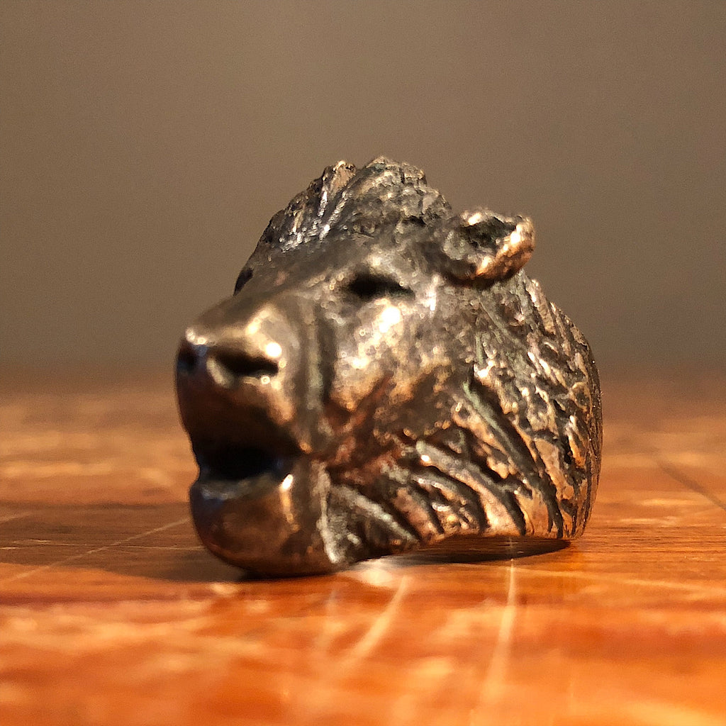 1940s Biker Ring of Lion's Head - Size 8 1/2 - Sterling Silver Outlaw Jewelry - Rare Counter Culture Relic - Estate Find - Statement Piece