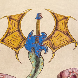 Vintage Tattoo Flash Art of Guitar Dragon | 1992