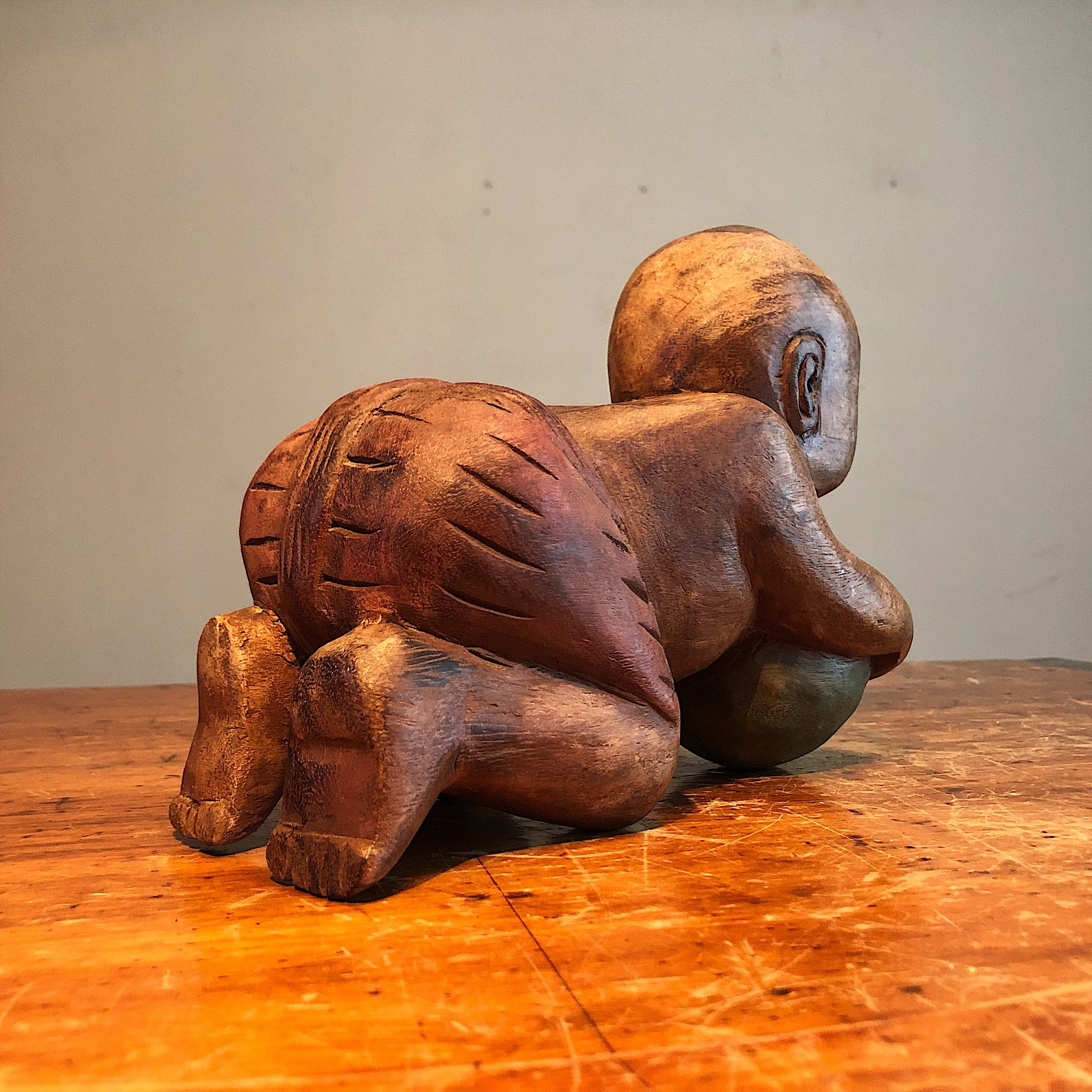 Antique Chinese Opium Pillow of Baby with Ball | Wood Karako