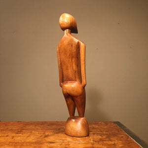 Side View Unusual Mod Wood Sculpture of Human Form from 1950s