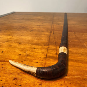 Antique Stacked Leather Cane with Horn Bone Inlays | 1800s