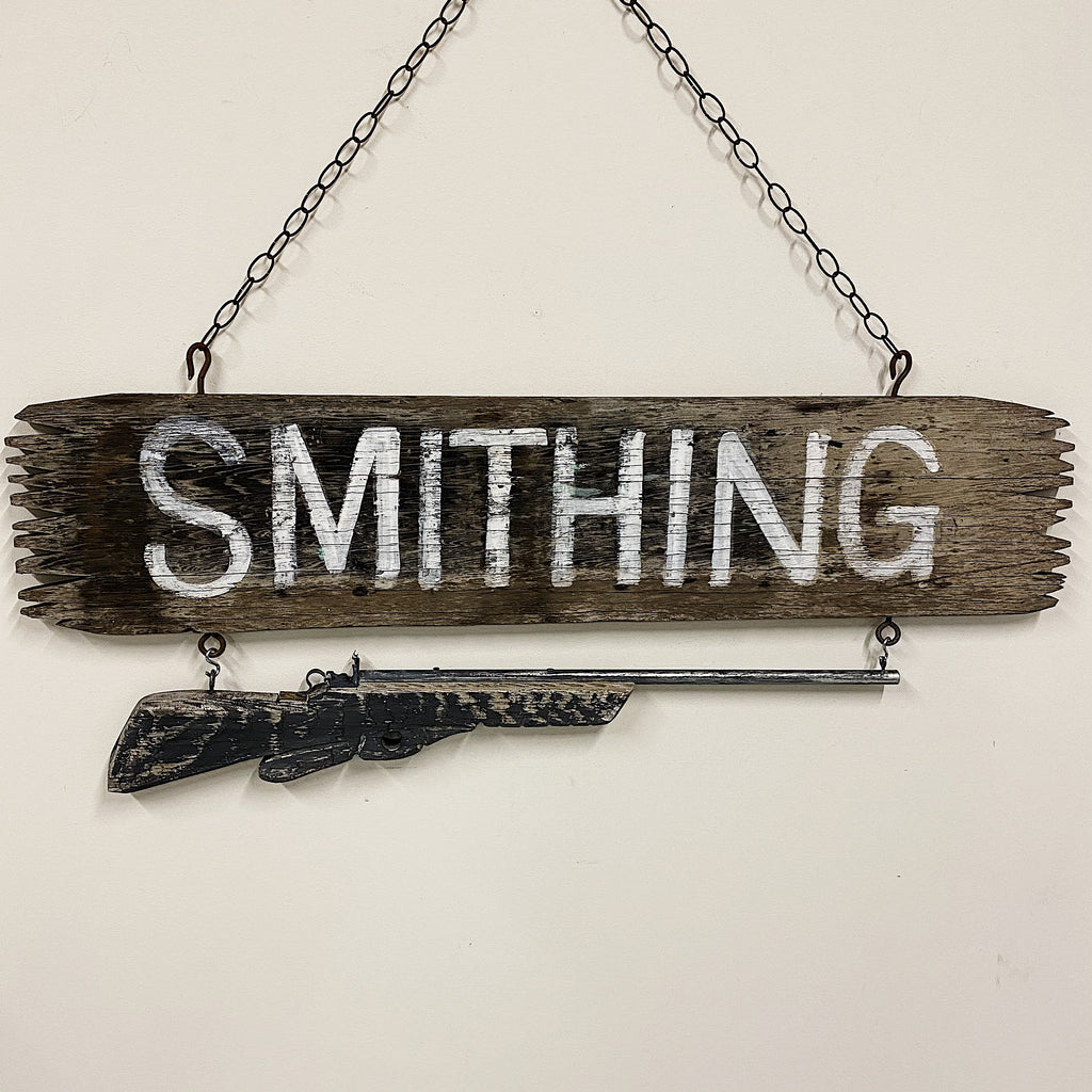 Antique Gunsmith Trade Sign with Hand Carved Rifle - 1930s Double-Sided Wood Smithing Signs - Rare Folk Art Advertising - Early 1900s