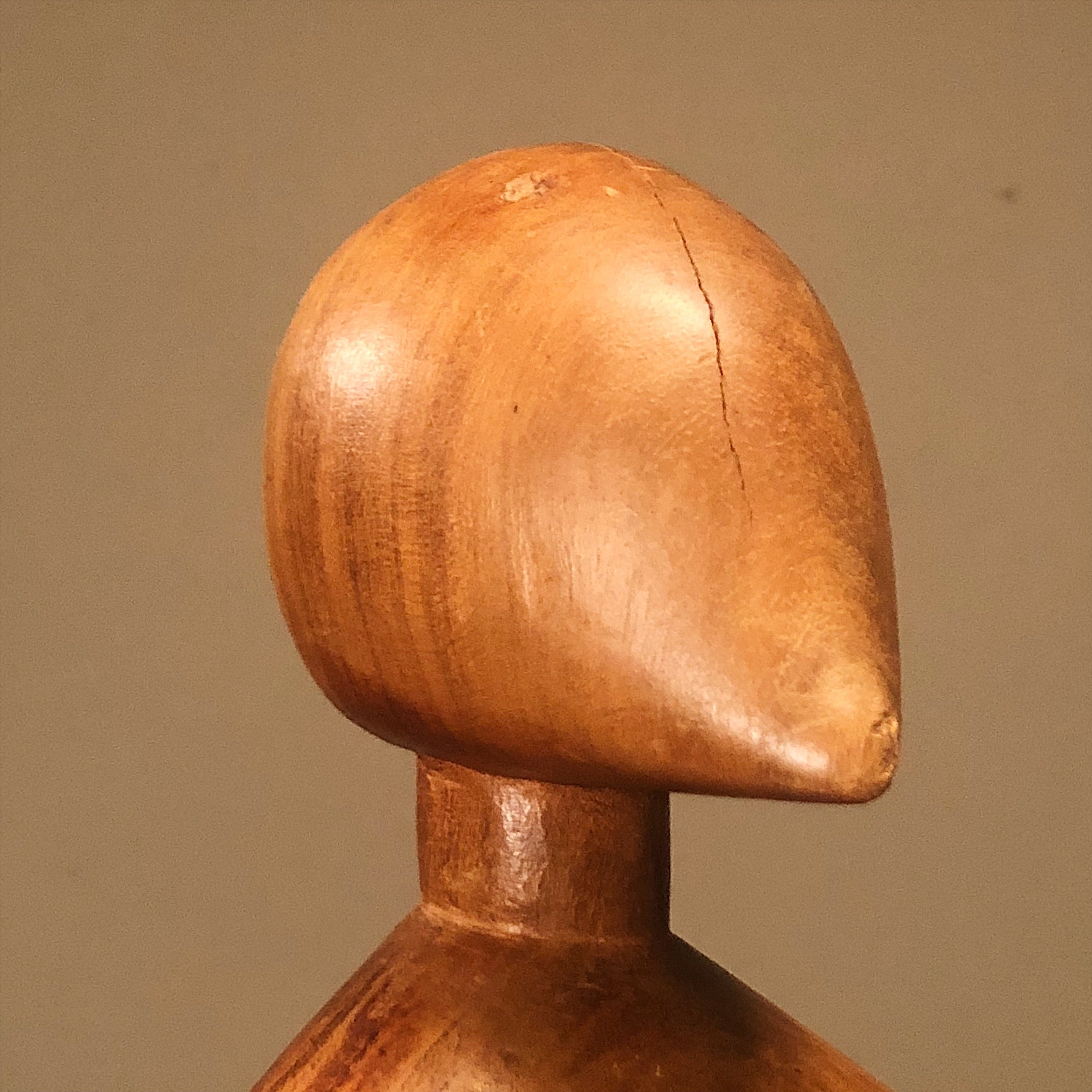Indentation on Unusual Mod Wood Sculpture of Human Form from 1950s