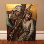 Huge Vintage Painted Panels of Crucifixion