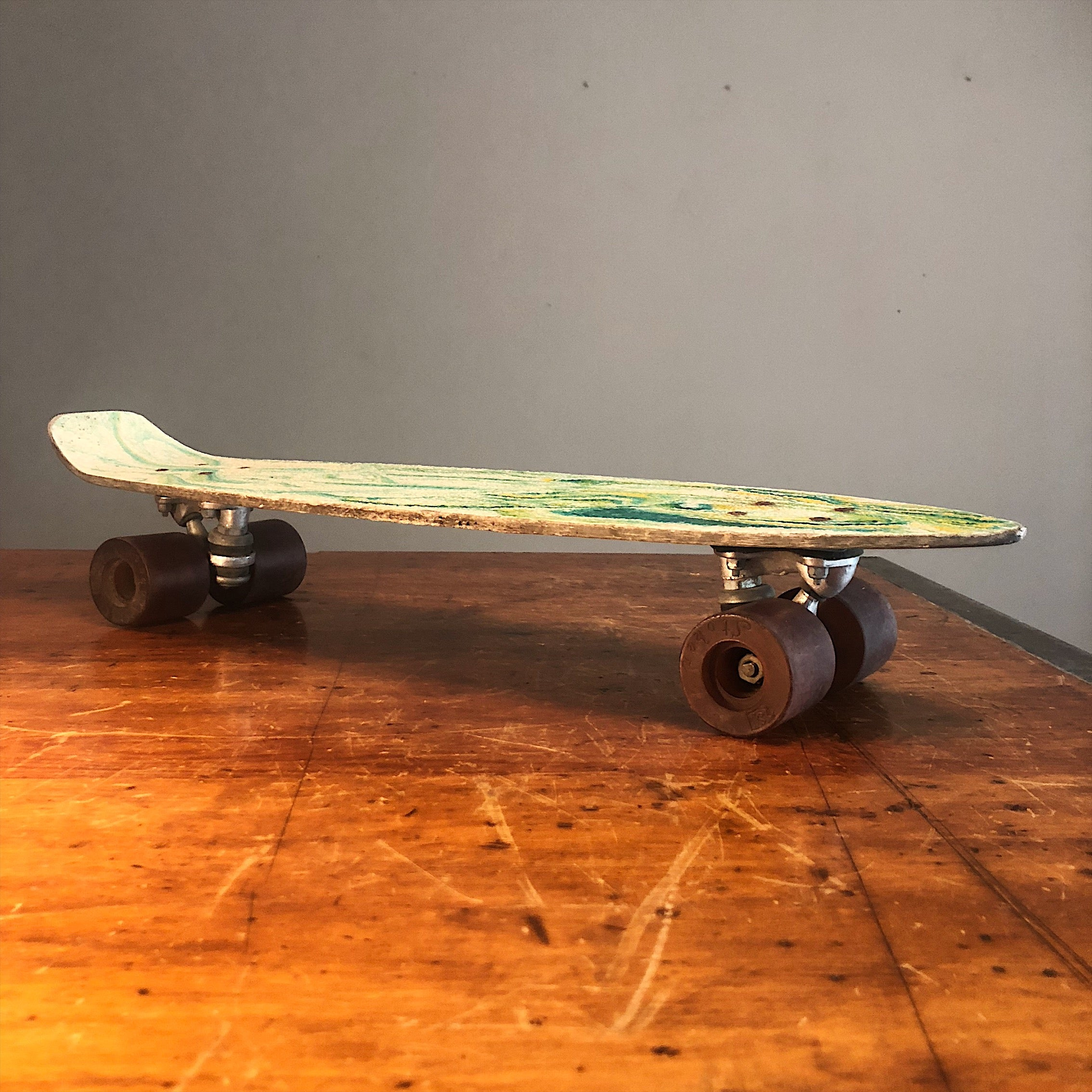 Vintage NONA Skateboard with Psychedelic Fiberglass Deck