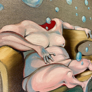Surreal Painting of Abstract Figure on Funky Sofa | Liquid Television Art
