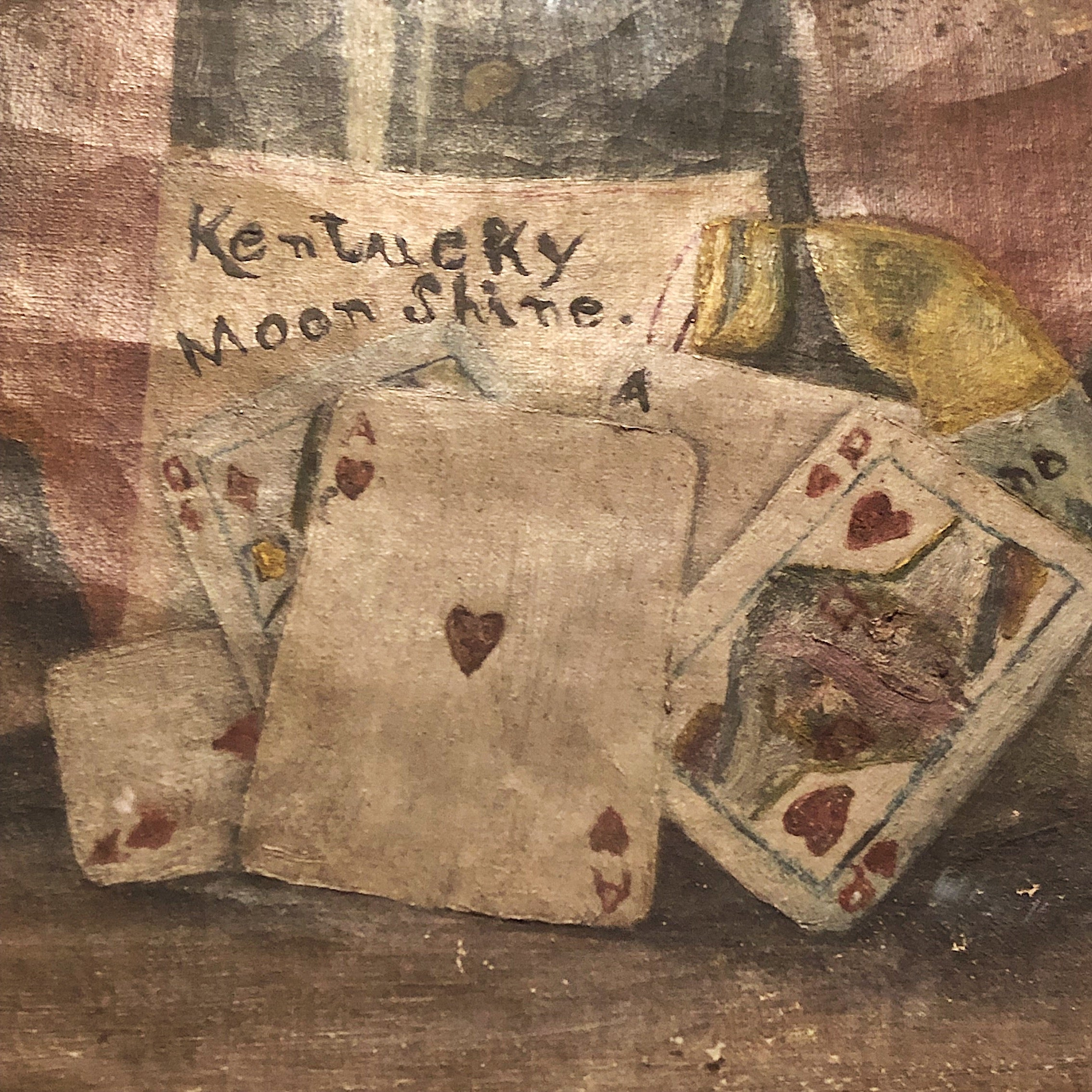 Rare Moonshine Gambling Still Life Oil Painting - 1800s - Antique - Kentucky - Poker - Cards