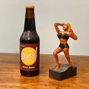 1950s Folk Art Wood Carving of Blonde Bombshell in Bikini
