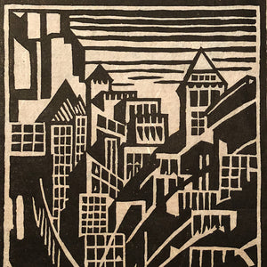 Skyline of New York City Woodcut Print