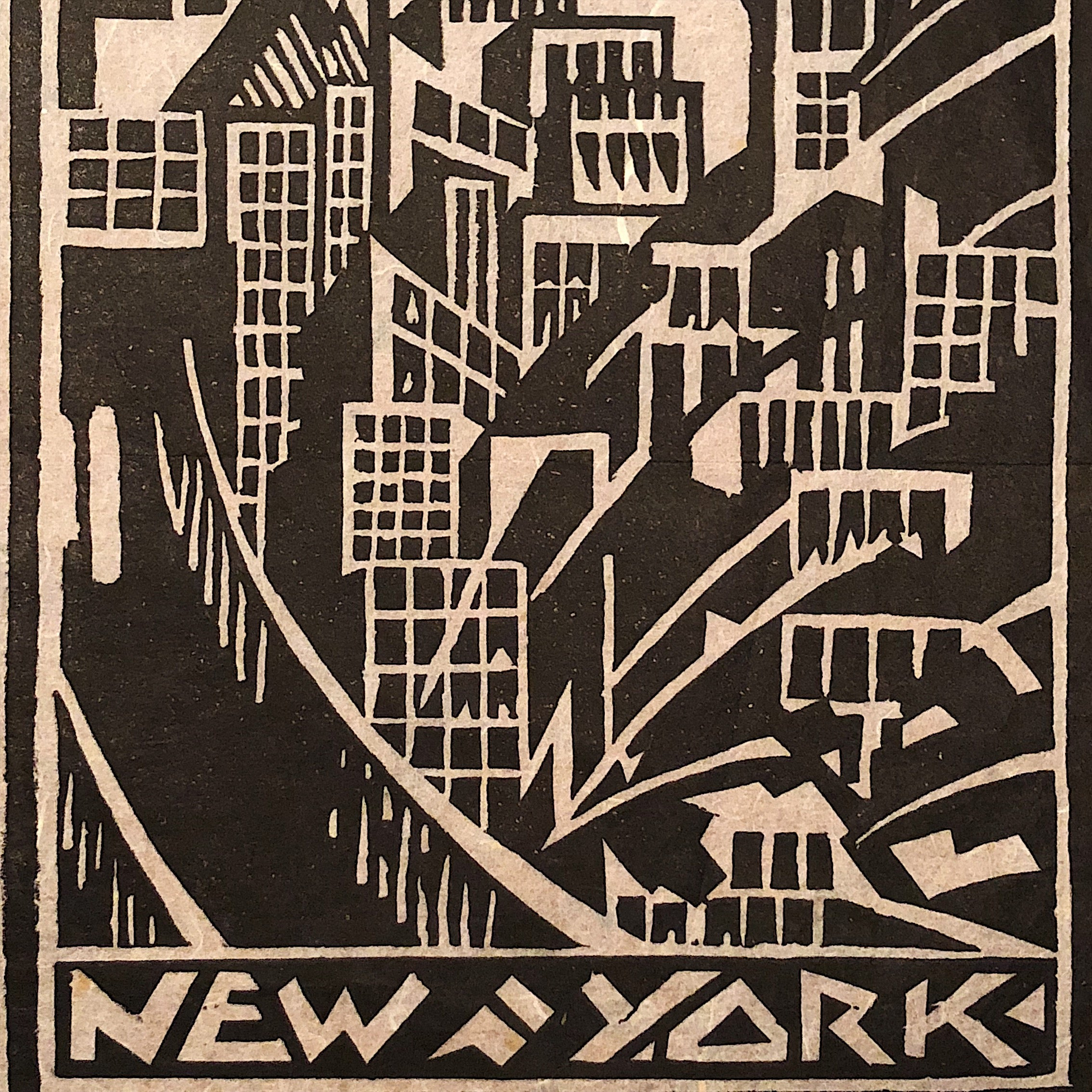 Vintage Art Deco Woodblock of New York City