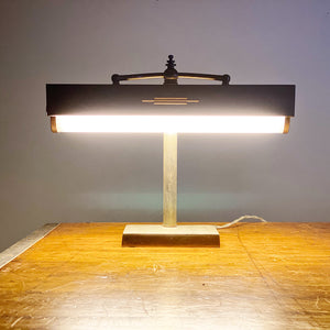 Rare 1940s Louis Baldinger & Sons Banker's Lamp - Art Deco Business Lighting - Cool Patina