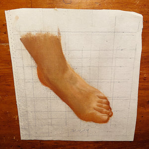 Unusual Vintage Painting of Bare Foot - 1979 - Weird Art - Rare Underground Fetish Paintings - Unframed 1970s Artwork - Feet  - Mystery