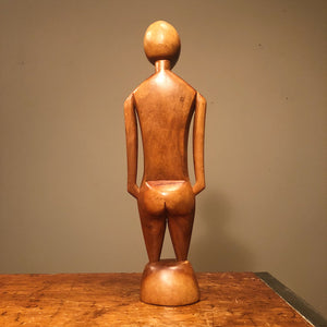 Rear View Unusual Mod Wood Sculpture of Human Form from 1950s