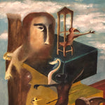 Vintage Surreal Painting from 1960s - Christopher Charles - Surrealist Artwork - Salvador Dali Influence - Outsider Art - Unusual