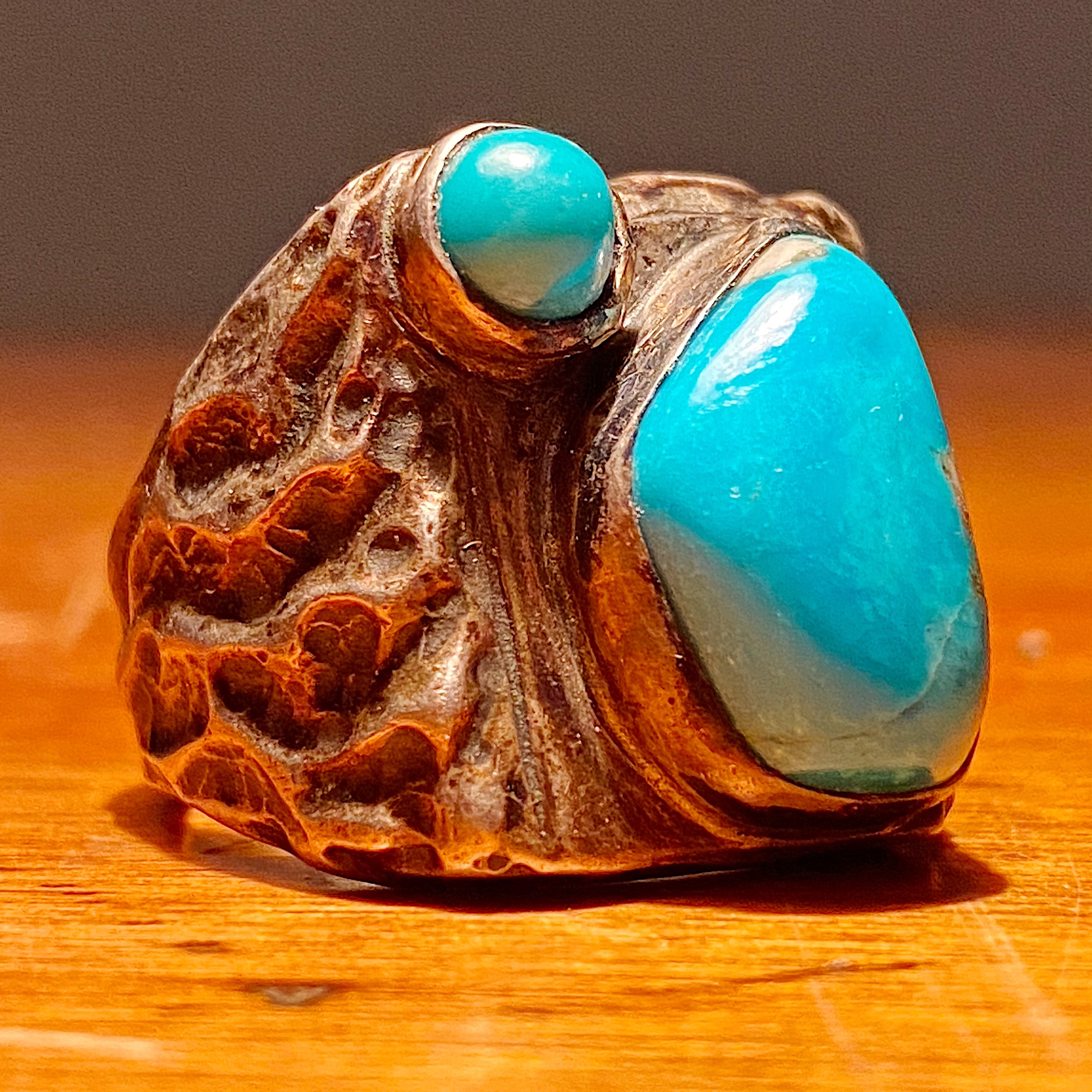 Vintage Dead Pawn Turquoise Biker Ring - Navajo Men's Size 9 - Unmarked Early Example - Rare Unusual Southwestern Design