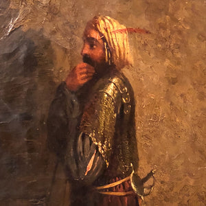 Antique Oil Painting of Arabian Warrior Peering into the Darkness - Persian Artwork