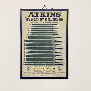 Antique Atkins Files Tin Sign - Early 1900s - Rare Industrial Tool Advertising - K.C. Atkins & Company - Silver Steel Files - Lithograph