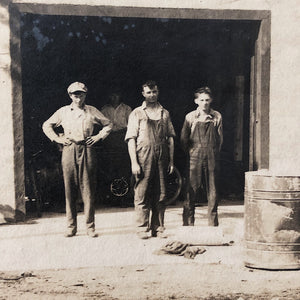 Antique Photograph of Mechanic Shop from 1917 - Early 1900s - Greaser Culture - Denim Workwear