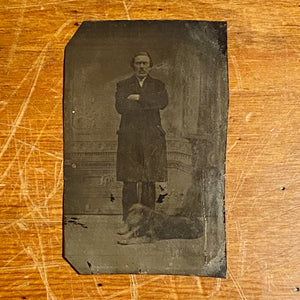 Antique Tintype of Serious Man and Dog - Rare Pet Photography - Unusual Late 1800s Photograph - Gangster? - Underground Image
