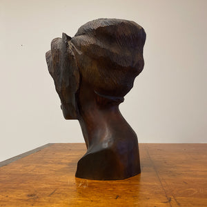 Haitian Wood Sculpture of Female Bust Signed Maurice | 1950s